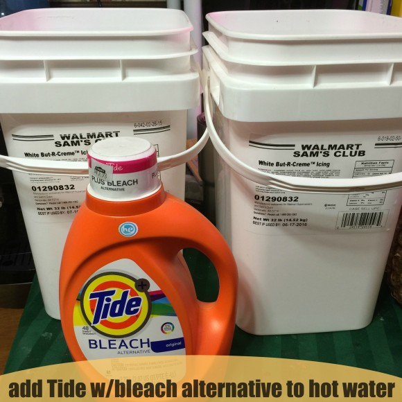 add Tide with Bleach Alternative to hot water
